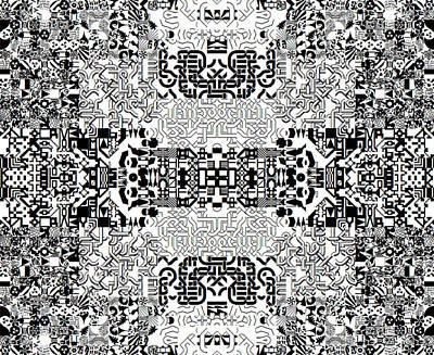 Monochrome Geometric Random Glyphs Art Print
