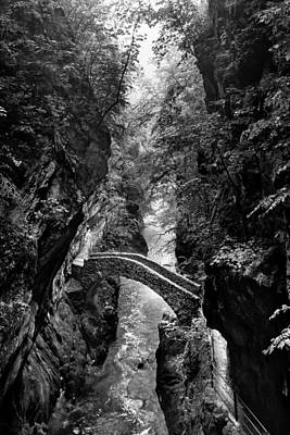 Photograph - Monochrome Image Of The Stone Bridge In The Val D'areuse by Charles Lupica