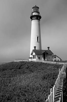 Photograph - Monochrome Lighthouse With Fence by Tamyra Crossley