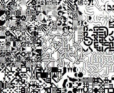 Monochrome Random Glyphs Art Print