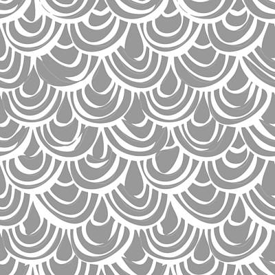 Monochrome Scallop Scales Print by Sharon Turner