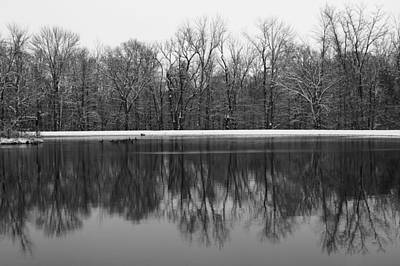 Photograph - Monochrome Winter Reflection by Dan Sproul
