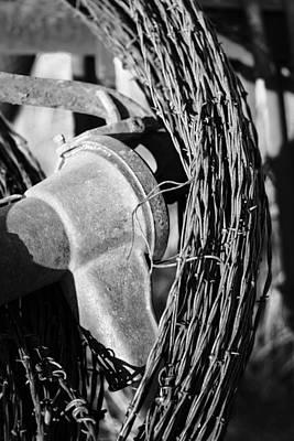 Monochromed Barbed Wire Art Print by David Allen Pierson