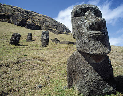 Stone Carving Photograph - Monolithic Statues At Rano Raraku Quarry by English School