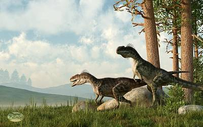 Animals Digital Art - Monolophosaurs on the Hunt by Daniel Eskridge