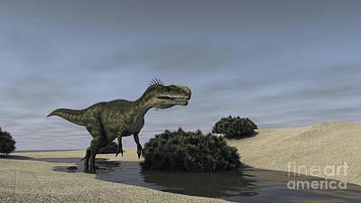 Running Digital Art - Monolophosaurus Running by Kostyantyn Ivanyshen
