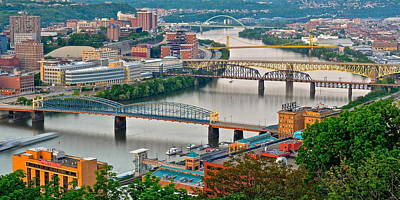 Roberto Clemente Photograph - Monongahela Bridges by Frozen in Time Fine Art Photography