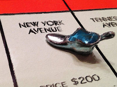 Painting - Monopoly Board Custom Painting New York Avenue by Tony Rubino