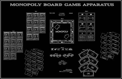 Visiting Digital Art - Monopoly Board Game Black Patent Art  1935 by Daniel Hagerman