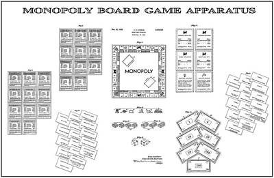 Visiting Digital Art - Monopoly Board Game Patent Art  1935 by Daniel Hagerman
