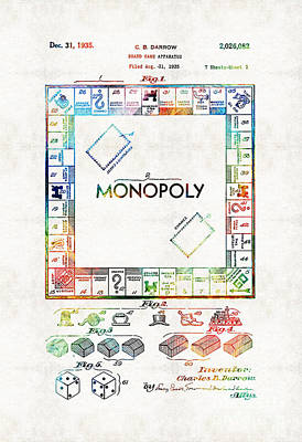 Monopoly Game Board Vintage Patent Art - Sharon Cummings Art Print by Sharon Cummings