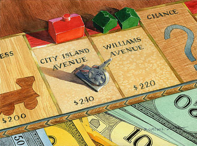 Monopoly Painting - Monopoly On City Island Avenue by Marguerite Chadwick-Juner
