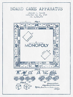 Monopoly Drawing - Monopoly Patent From 1935 - Blue Ink by Aged Pixel