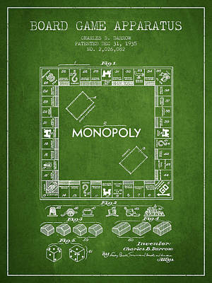 Monopoly Drawing - Monopoly Patent From 1935 - Green by Aged Pixel
