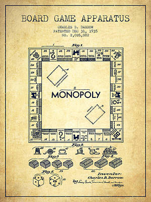 Monopoly Drawing - Monopoly Patent From 1935 - Vintage by Aged Pixel