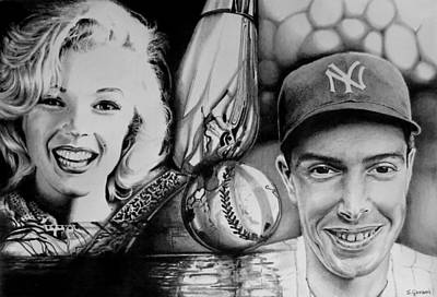 Drawing - Monroe And Dimaggio by Geni Gorani