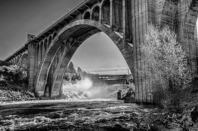 Monroe St. Bridge And Falls Art Print by Derek Haller