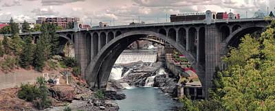 Monroe Street Bridge Panorama - Spokane Art Print