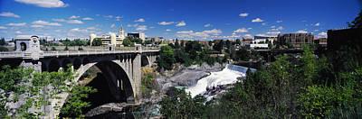Spokane River Photograph - Monroe Street Bridge With City by Panoramic Images