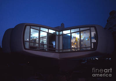 Architect Photograph - Monsanto House Of The Future At Disneyland At Night 1961 by The Harrington Collection