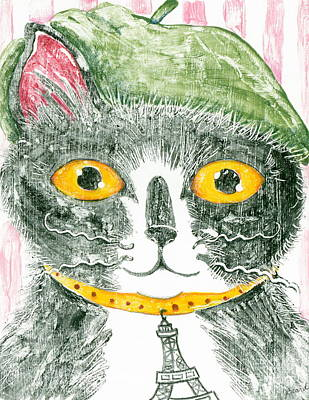 Printmaking Mixed Media - Monsieur Cat by June Beard