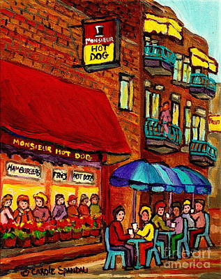 Painting - Monsieur Hotdog Roadside Attractions Delis Drive Ins Diners Paintings Vintage Storefront Cityscene  by Carole Spandau