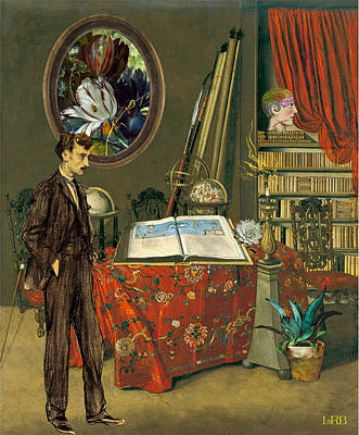 Vintage Digital Art - Monsieur Luks Library by Laura Botsford
