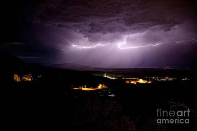 Photograph - Monsoon Horizontal Lightning by Ron Chilston
