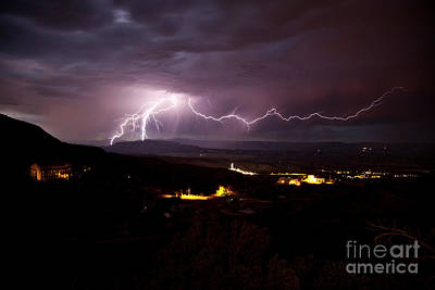 Photograph - Monsoon Lightning In Jerome Az by Ron Chilston