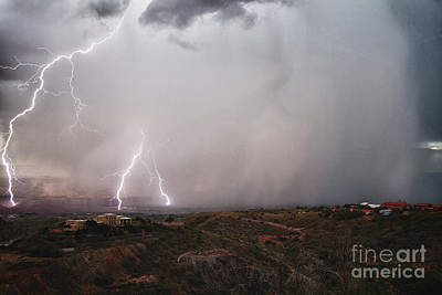 Photograph - Monsoon Lightning Storm Over The Jerome State Park In The Verde Valley Arizona by Ron Chilston
