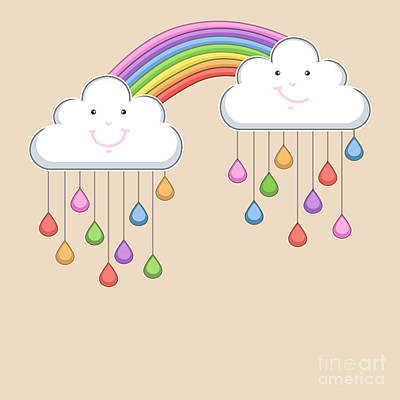 Rain Drops Wall Art - Digital Art - Monsoon Season Background With Happy by Allies Interactive