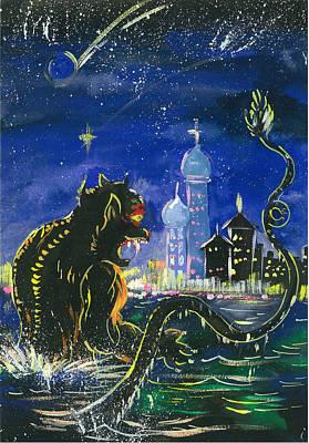 Monster In The City Art Print