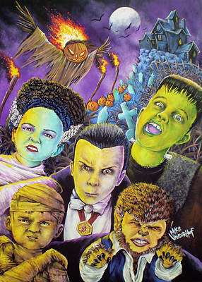 The Haunted House Painting - Monster Kids by Mike Vanderhoof