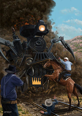 M P Davey Digital Art - Monster Train Attacking Cowboys by Martin Davey