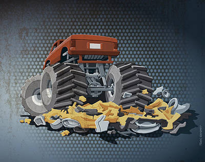 Monster Truck Grunge Color Print by Frank Ramspott