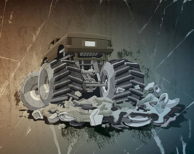 Retro Digital Art - Monster Truck Grunge by Frank Ramspott