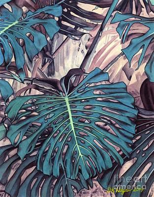 Painting - Monstera Blues by DK Nagano