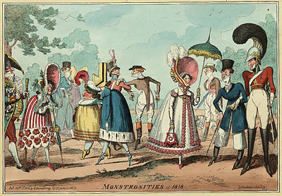 Monstrosities Of 1818, Engraving 1818, Unusual Clothing Art Print