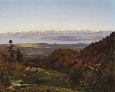 Mont-blanc Seen From Saint-cergues, 1869 Art Print by Francois Louis Francais