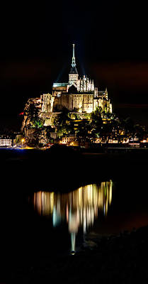 Photograph - Mont Saint Michel At Night 1 by Weston Westmoreland
