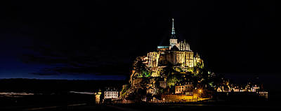 Photograph - Mont Saint Michel At Night Panorama by Weston Westmoreland