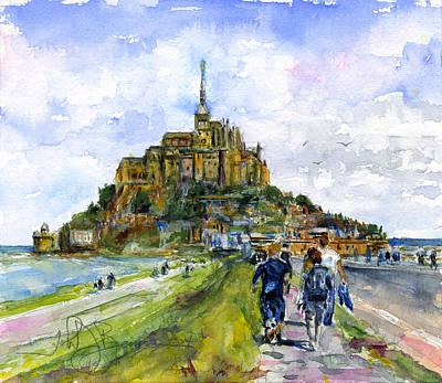 Painting - Mont Saint Michel France by John D Benson