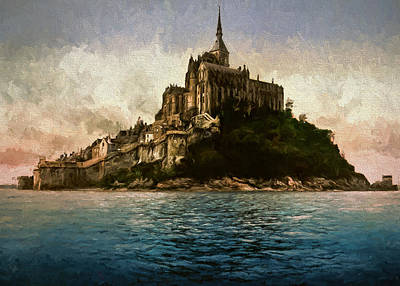 Horse And Buggy Painting - Mont Saint Michel by John K Woodruff