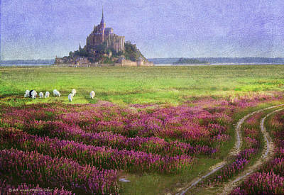 Saint Christopher Painting - Mont St. Michel Flowers And Grazing Sheep by R christopher Vest