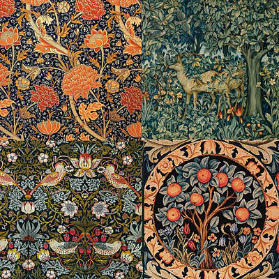 Nature Tapestries - Textiles Digital Art - Montage Of Morris Designs by Philip Ralley