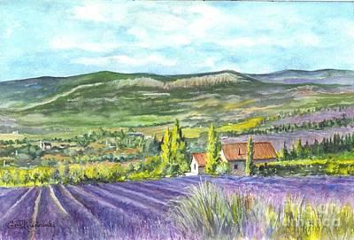 Lavender Drawing - Montagne De Lure En Provence by Carol Wisniewski
