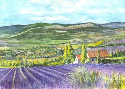 Lavender Drawing - Montagne De Lure In Provence France by Carol Wisniewski