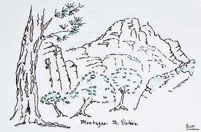 Pen And Ink Drawing Photograph - Montagne Sainte-victoire, South by Richard Lawrence
