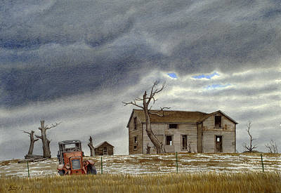 Abandoned Houses Painting - Montana Abandoned Homestead by Paul Krapf