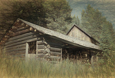 Log Cabin Mixed Media - Montana Cabin by Richard Rizzo